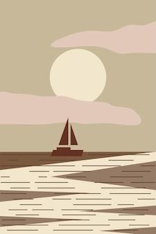 Minimalistyczny pejzaż morski z łodzią o zachodzie słońca streszczenie nowoczesnej płaskiej ilustracji wektorowych