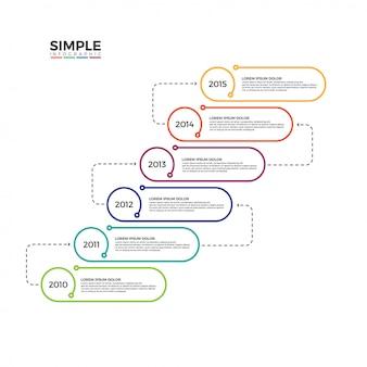 Minimalistyczny pionowy oś czasu infographic wektor