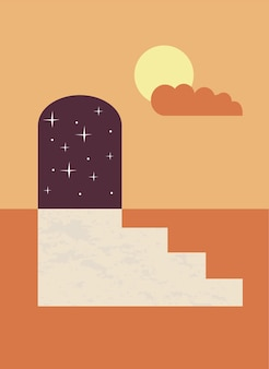 Minimalistyczny plakat boho z kompozycją dnia i nocy