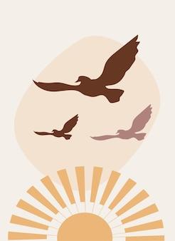 Minimalistyczny plakat boho ze wschodem słońca i ptakami