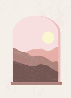 Minimalistyczny plakat w stylu boho z mistycznym łukowym oknem z górską scenerią i zachodem słońca