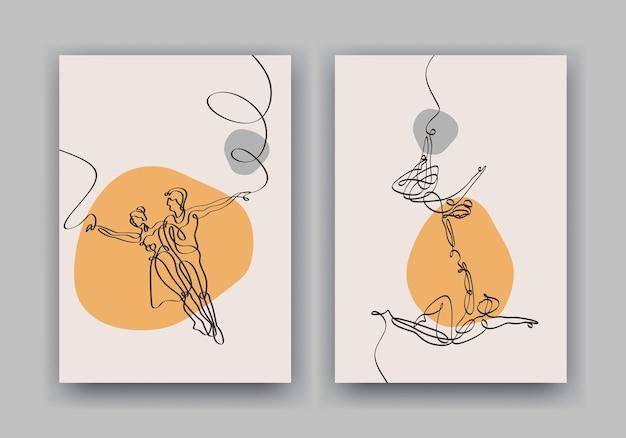 Minimalistyczny plakat z ciągłym rysunkiem pary