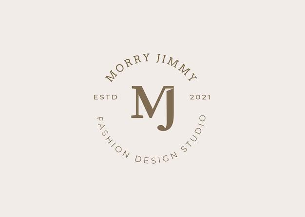 Minimalistyczny początkowy szablon projektu logo mj list, styl vintage, ilustracje wektorowe