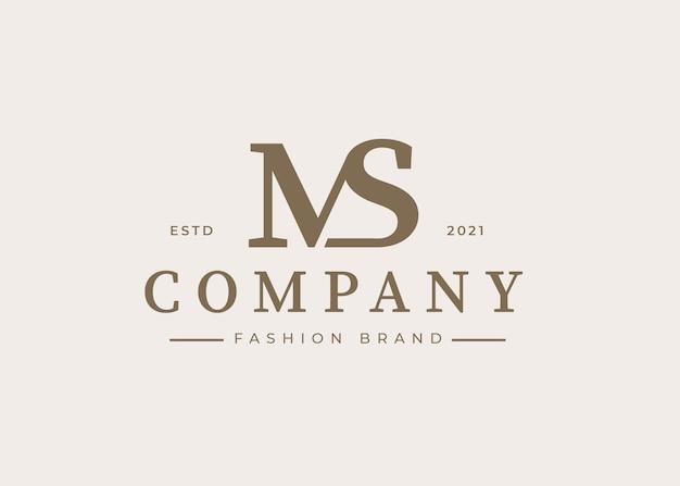 Minimalistyczny początkowy szablon projektu logo ms list, ilustracje wektorowe