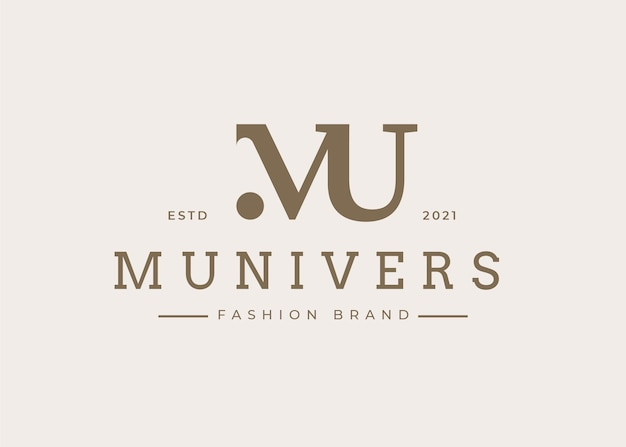 Minimalistyczny początkowy szablon projektu logo mu list, ilustracje wektorowe