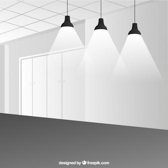 Minimalistyczny pokój z reflektorami