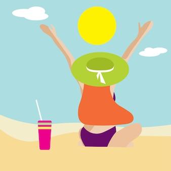 Minimalistyczny portret kobiety na plaży. baner lato. scena na plaży