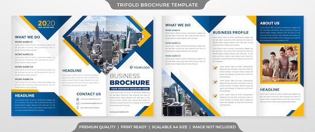 Minimalistyczny potrójny szablon broszury w stylu premium