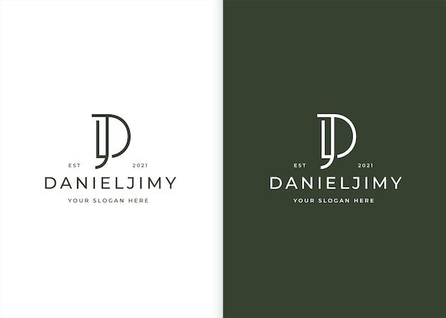 Minimalistyczny projekt logo dj litery dla marki osobistej lub firmy