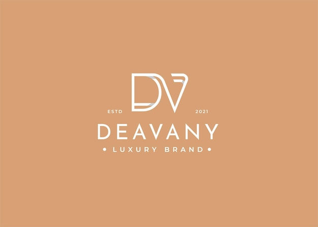 Minimalistyczny projekt logo dv z literą dla osobistej marki lub firmy