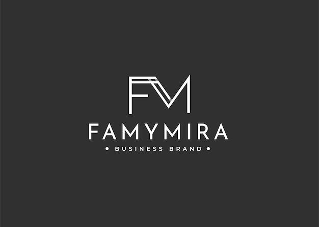 Minimalistyczny projekt logo fm z literą