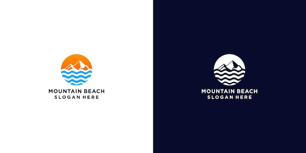 Minimalistyczny projekt logo gór i fal
