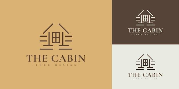 Minimalistyczny projekt logo kabiny w stylu linii. logo wioski domków