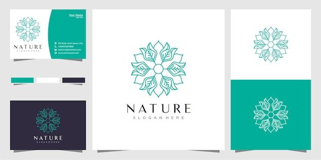 Minimalistyczny projekt logo kwiatowego w stylu linii i wizytówki
