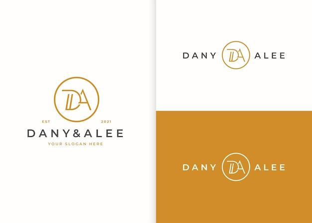Minimalistyczny projekt logo litery da dla marki osobistej lub firmy