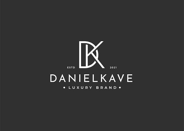 Minimalistyczny projekt logo litery dk dla marki osobistej lub firmy