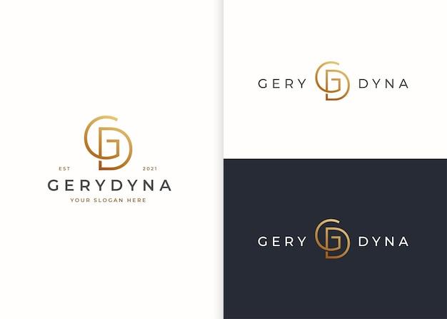 Minimalistyczny projekt logo litery gd dla marki osobistej lub firmy