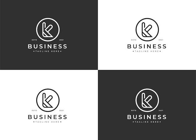 Minimalistyczny projekt logo litery k w kształcie koła