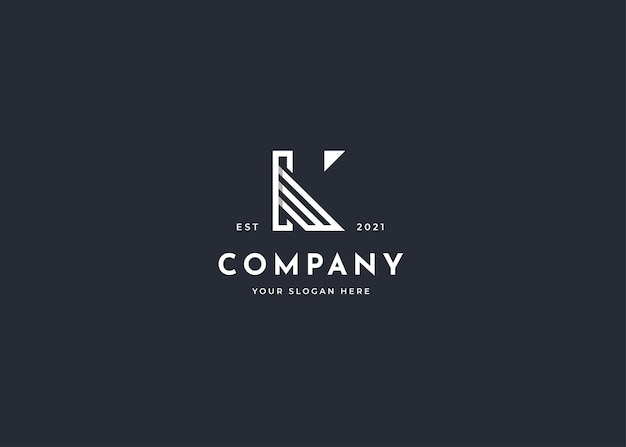 Minimalistyczny projekt logo litery k w stylu linii