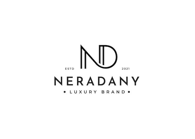 Minimalistyczny projekt logo litery nd dla marki osobistej lub firmy