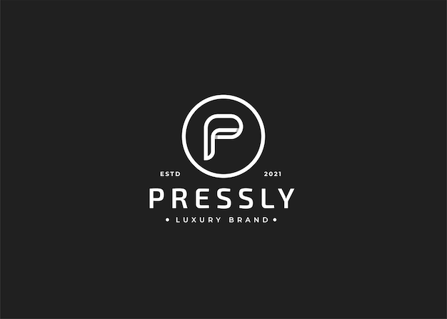 Minimalistyczny projekt logo litery p w kształcie koła