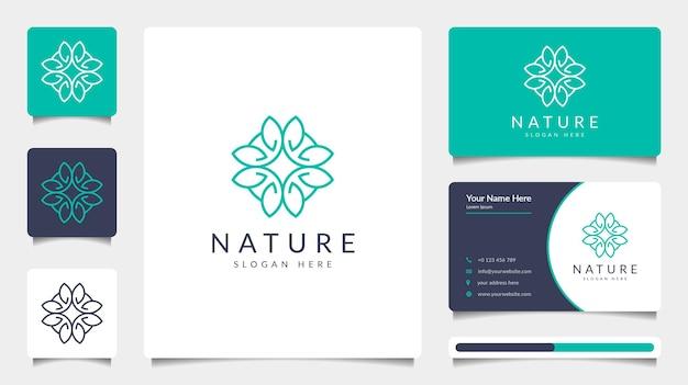 Minimalistyczny projekt logo natury ze stylem grafiki liniowej i szablonem wizytówki