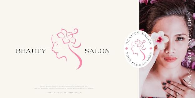 Minimalistyczny projekt logo twarzy kobiety