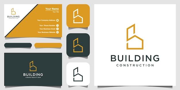 Minimalistyczny projekt logo złotej litery b z elementem budowy domu i wizytówką