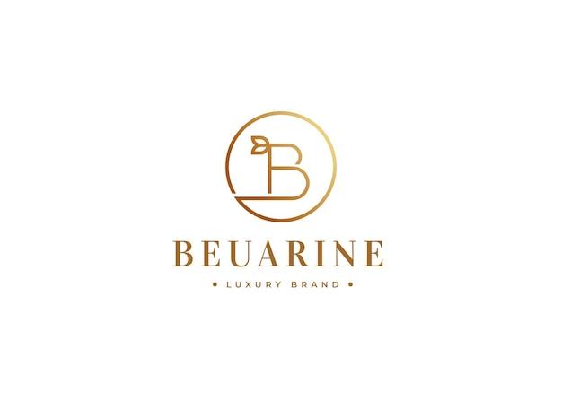 Minimalistyczny projekt luksusowego logo litery b w kształcie koła