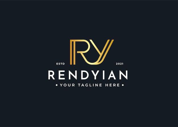 Minimalistyczny projekt luksusowego logo litery ry dla marki osobistej lub firmy