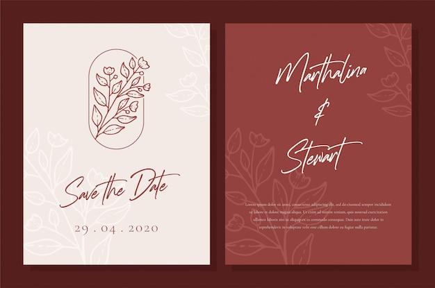 Minimalistyczny projekt szablonu karty zaproszenie na ślub