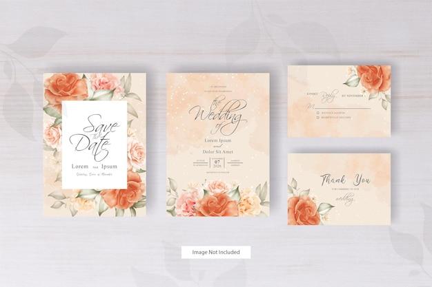 Minimalistyczny projekt szablonu zaproszenia ślubne akwarela z układem kwiatowym