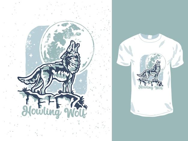Minimalistyczny projekt t-shirtu wyjącego wilka