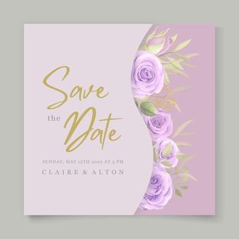Minimalistyczny projekt zaproszenia ślubne z fioletowymi różami