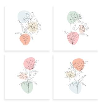 Minimalistyczny rysunek kwiatu jednej linii w stylu sztuki linii