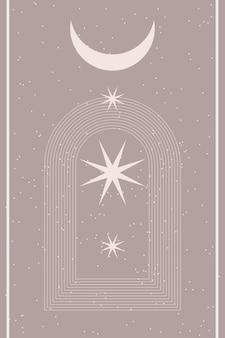 Minimalistyczny streszczenie boho plakat szablon graficzny kształt ikona.
