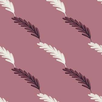 Minimalistyczny styl bezszwowe natura wzór z organicznym białym i fioletowym nadrukiem eae pszenicy. pastelowe fioletowe tło. idealny do projektowania tkanin, nadruków na tekstyliach, zawijania, okładek. ilustracja wektorowa.