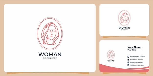 Minimalistyczny styl linii kobieta logo z brandingiem wizytówek
