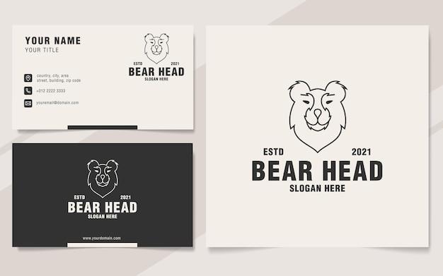 Minimalistyczny styl monogramu logo głowy niedźwiedzia