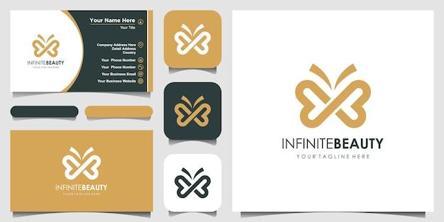 Minimalistyczny styl sztuki linii motyla. piękno, luksusowy styl spa. projektowanie logo, ikona i wizytówka.