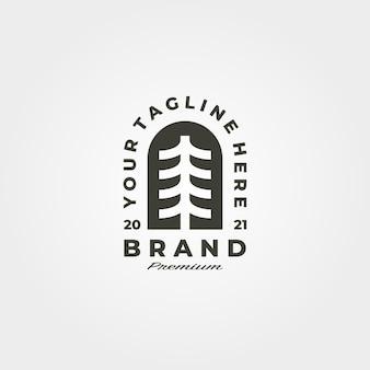 Minimalistyczny symbol logo godło vintage sosny