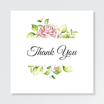 Minimalistyczny szablon karty dziękuję z akwarela kwiatowy