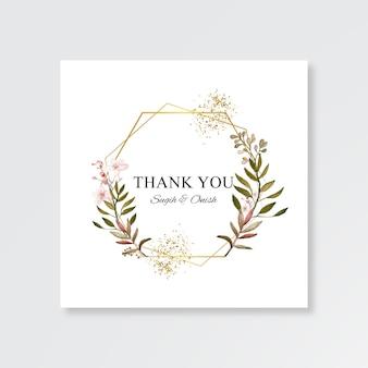Minimalistyczny szablon karty ślubu z akwarelą kwiatową ramą