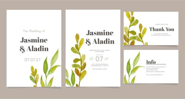 Minimalistyczny szablon karty ślubu