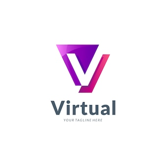 Minimalistyczny szablon logo litery v.