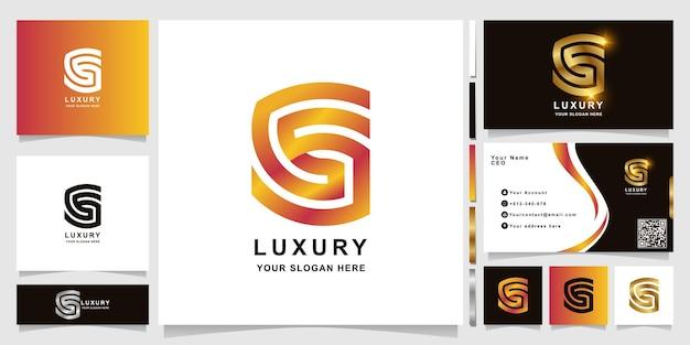 Minimalistyczny szablon logo monogram gs lub ss z projektem wizytówki