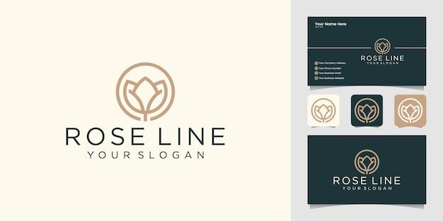 Minimalistyczny szablon logo sztuki linii w stylu kwiatowym i wizytówka