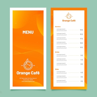 Minimalistyczny szablon menu restauracji