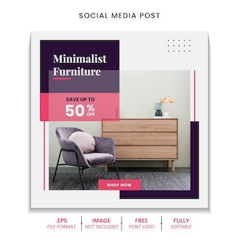 Minimalistyczny szablon postu w mediach społecznościowych z nowoczesnymi meblami