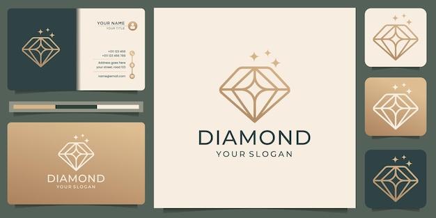 Minimalistyczny Szablon Projektu Logo Diamentu Premium Wektorów